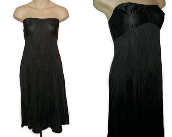 SALE Vintage 1960s 70s Slip Strapless Black Vanity Fair Nylon Slip Bandeau Top Rockabilly Pinup Boho M chest 36 in