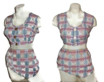 Vintage 1950s 60s Bikini Bathing Suit Pink Blue Plaid Cotton Bikini Button Up Top Two Piece Swimsuit Rockabilly L XL chest to 44 in