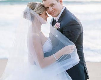 Fingertip veil with 2 inch horsehair trim 2 tiers with blusher veil with crinoline trim wedding veil Please read below on color