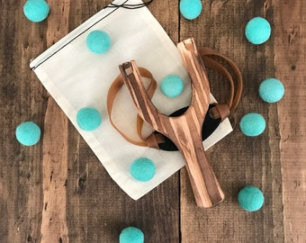 Wooden Slingshot with Felt Ball Ammo, Personalized Child's Toy