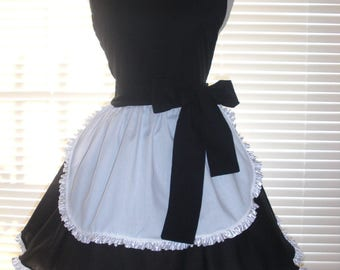 Frilly French Maid Apron Pin-up Retro Style Black and White Circular Flirty Skirt Trimmed in White Ruffled Ribbon Sweetheart Neckline