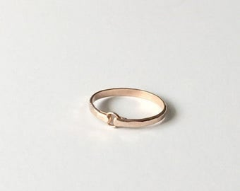 ON SALE Stacking Rings - Heavy Gauge Hammered Rose Gold Filled Ring - Rose Gold Ring - Stackable Rings - Wedding Band