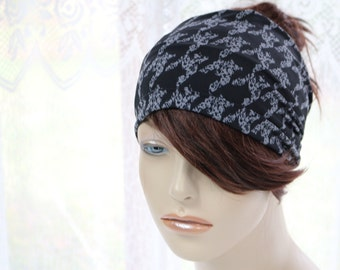 Black with Grey Classic Houndstooth Pattern Turban Head Wrap Womens Yoga Headband Turband Wide Headband, Womens Gift Ideas, Gifts for Her