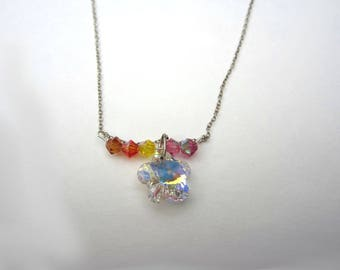 rainbow multicolor 925 sterling silver necklace flower floral pink orange crystal sparkle eco friendly fashion recycled upcycled vintage