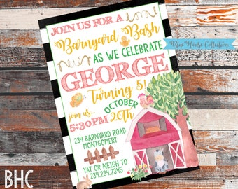 Farm Birthday Invitation. farm birthday party. Barnyard Birthday Party. Barnyard Bash. Farm invite. Tractor Invitation. Barnyard party.