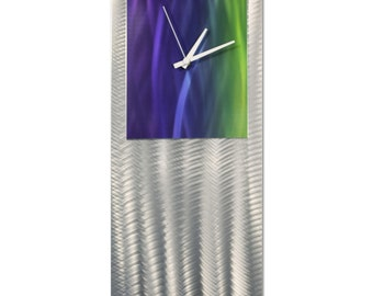 Blue/Green Modern Clock 'Cool Studio Clock' by Nate Halley - Metal Wall Decor Funky Art Clock on Ground and Colored Aluminum