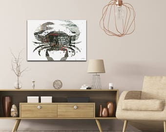 Animal Silhouette 'Crab Pot' by Adam Schwoeppe - Seascape Photography Coastal Nature Art on White Metal