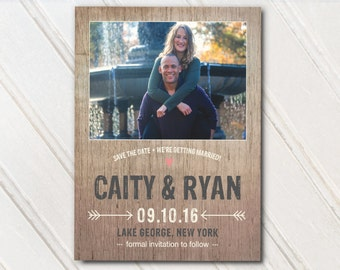 Rustic Wedding Save The Dates Photo Magnets Postcards Cards BOHO Rustic Vintage Shabby Chic Wood Country Beach Peach Blush Mint