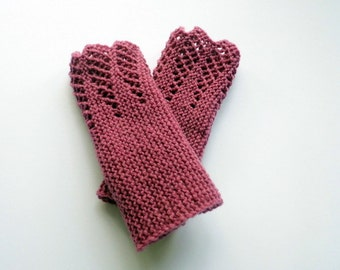 Arm warmers, wrist warmers, wool, organic, top, mauve