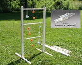 Ladder Ball Game Set - Unpainted Wooden ladderball game Ladder toss yard lawn game wooden ladder golf ball bolas Christmas gift wedding game