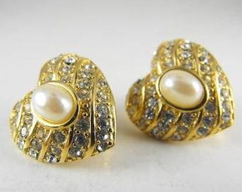 Richlieu Earrings Pave Set Rhinestone Pearltone Hearts BONUS Brooch To Match FREE