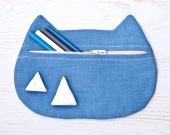 Blue Cosmetic Bag, Linen Cat Makeup Bag, Cats Pencil Case, Toiletries Bag, Makeup Organizers, Zipper pouch, Mother Day Gift, Girlfriend Gift