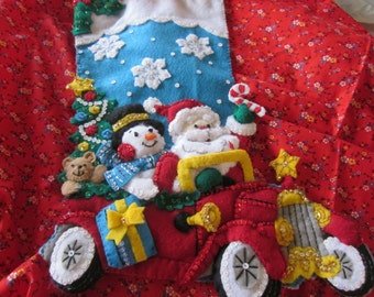 "Bucilla completed 18"" felt stocking ""Holiday Drive"""