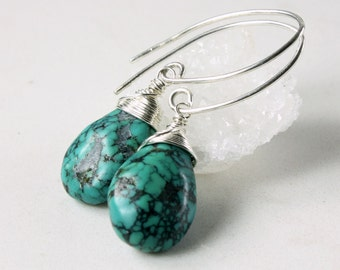 Turquoise Earrings, Sterling Silver wire wrap, fine earrings, blue gemstone, genuine turquoise, gift for her, December birthstone, 3992
