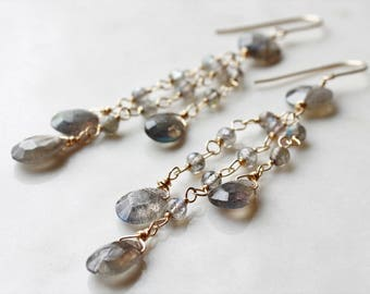Labradorite Earrings, Goldfilled, chandeliers, green grey gemstone, blue green iridescent flashes, statement, long, boho style, gift for her