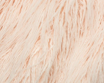 Fake Faux Fur Curly Yak Pearl Pink 58 Inch Wide Fabric by the Yard, 1 yard