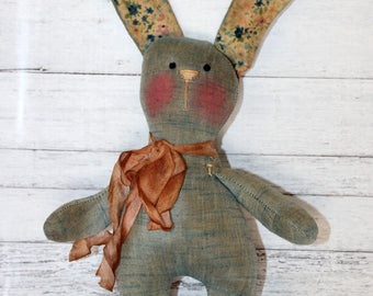 Little Raggedy Chambray Easter Bunny - Primitive Rabbit (HAFAIR)
