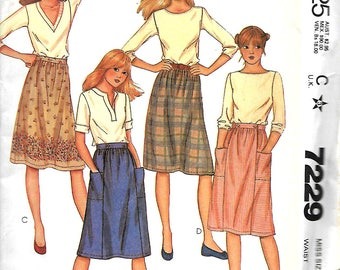 McCall's 7229 Misses Gathered Skirts Sewing Pattern, 10 & 16, UNCUT