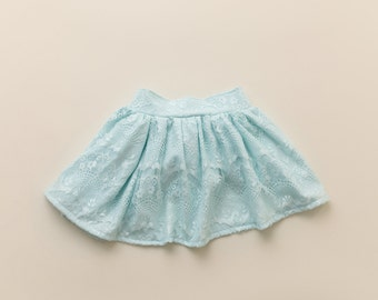 Blue Lace Twirl Skirt. Light Blue Lace Skirt. Babies, Toddlers, Girls.