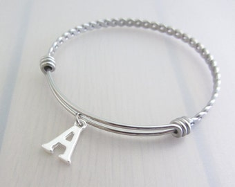 Custom Initial Charm Stainless Steel Bangle, Personalised Silver Letter Charm Bracelet, Adjustable Initial Twist Bangle, Stackable Bracelet