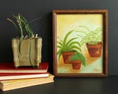 Vintage Green Plant Painting Quirky Fern Baby Tears Spider Plant Home Decor Art Work