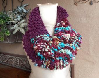Hand Knit Cowl, Art Yarn Cowl, Hand Knit Scarf, Hand Knit Infinity, Burgundy