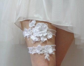 White satin lace garter set, bridal garter set, wedding garters, satin garter set, lace garter set