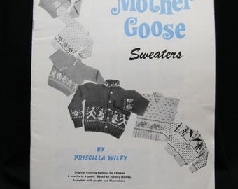 Mother Goose Sweaters, Nomis Volume 9, Priscilla Wiley, 6 months to 6 years, knitting patterns for sweaters based on nursery rhymes, 29 pgs