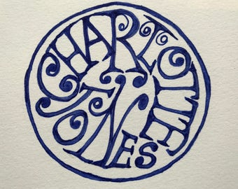 Custom name seal or rubber stamp - Hand drawn /Bobby Graham crossover with BlackmarketIntl/