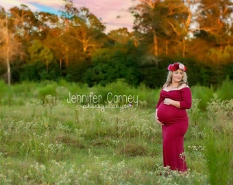 Piper Gown, Fitted floor length gown, maternity, baby shower, photography, photo shoot, matching dress