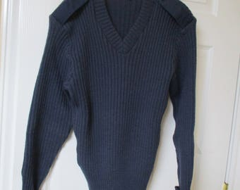 Vintage 100% wool navy blue military sweater w/elbow patches sz 40 Citadel sweater 80's/90's