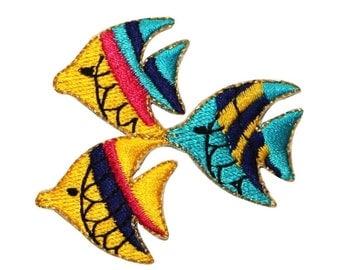 ID 0207 School of Fish Patch Trio Swimming Ocean DIY Iron On Applique