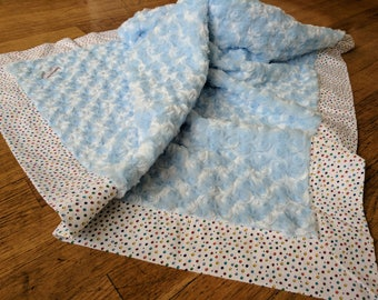Large Minky Baby Blanket - Polka Dots - Blue and White - Ready to Ship