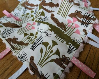 Baby Tag Blanket - Alligator - Crocodile - Pink White Brown - Baby Girl - Ready to Ship