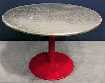 Round Stainless Cafe Table on Red Aluminium Base, circa 1960s