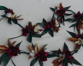 Maile orchid garland style ribbon lei