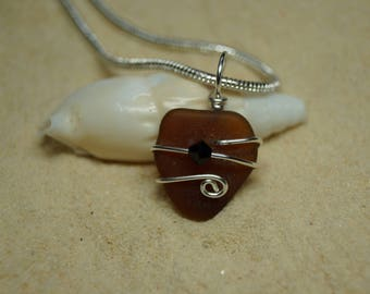 Drilled and Wire Wrapped Brown Sea Glass Necklace with Swarovski Crystal Bead