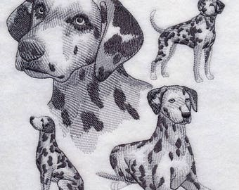 Dalmation Embroidered Quilt Block Square Dog Sketch Embroidery