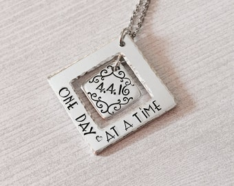 Personalized Sobriety Necklace,Sobriety Necklace,Addiction Necklace,Recovery Necklace,Keepsake Jewelry,Sobriety Date,Affirmation Necklace