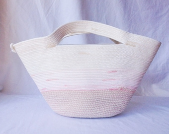 Rope purse, coil rope bag, purse, tote, with pink accents.