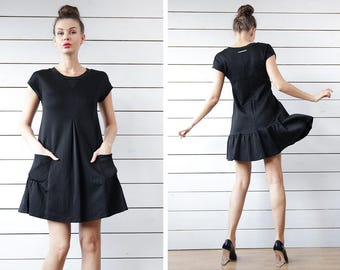 SPORTMAX by MaxMara vintage black cotton drop waist flared above the knee structured tunic mini dress Size M