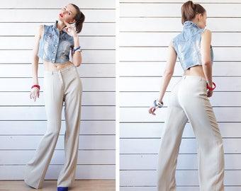 Vintage ivory beige high waist straight leg wide long trousers pants S