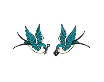 Key & Locket Swallows Patch Pair - Love Birds Rockabilly Psychobilly Hipster Bird Feather Swallow Rocker Tattoo Art