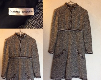 Vintage 1960's Designer Donald Brooks MOD Wool Tweed Dress Sm