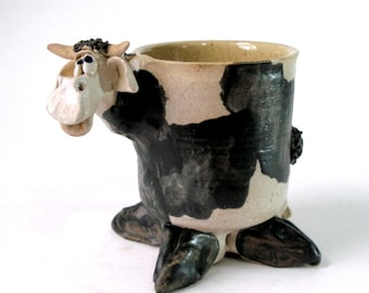 1987 SHEP COW POT Studio Art Pottery Chariacture Cow Sculptural Vessel Planter Holder Mug Cartoonish Style Handmade Signed Dated Farm Animal