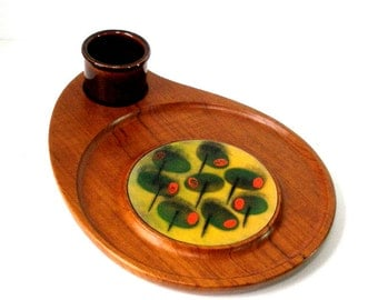 Vtg Sowe Sweden Teak Cheese Tray Cutting Board 12x16 Paisley Raindrop Shape w Enamel Tile Insert Cocktail Olives Party Scand Danish Mod MCM