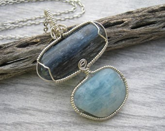 Blue Kyanite & Aquamarine Pendant, Chunky Ocean Bliss Pendant, Gemmy Kyanite, Blue Kyanite Pendant, Throat Chakra Necklace, READY To SHIP