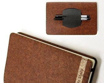 Large Personalized Kraft-tex Leather Alternative Moleskine Notebook Cover w/ Pen Holder - Brown - Fits 5 x 8.25 inch Hardcover Moleskines