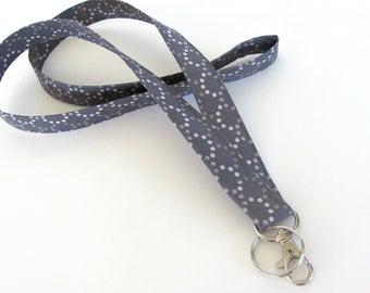 Fabric ID Badge Lanyard Keys Holder Women's Accessories, Teacher Lanyard - shades of grey cream dots