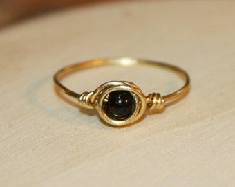 Nu Gold Black Thin Ring, Black Beaded Ring, Gold Ring, Black Wire Wrapped Ring, Minimalist Jewelry. Gifts Under 15. Gifts for Her